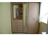 Wardrobe with mirror and mirror door