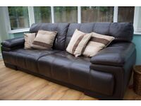3 Seater Leather Sofa, Arm Chair with Foot Stool (hidden storage) and Cushions