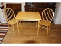 Pine Wood Kitchen/Dining Table and 2 Chairs