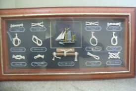 Crafted Nautical Knot Display in lovely frame 66cms wide by 34cms deep