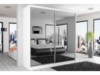 ORDER NOW FULLY MIRRORED== TWO DOOR SLIDING DOOR WARDROBE BRAND NEW WE DO SAME OR NEXT DAY DELIVERY
