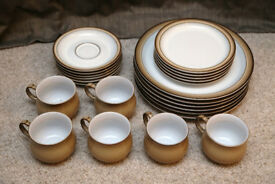 Denby Tableware Set - 6 x Dinner Plates, 5 x Side Dishes, 6 x Mugs with Saucers