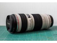Canon EF 70-200mm f/4 L USM Lens with Lens Hood, Lens Caps, Lens Bag, UV Filter