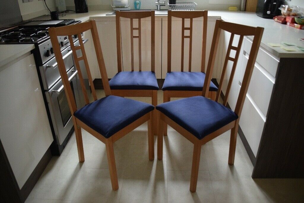 Dining Room Or Kitchen Chairs In Beech Wood With Padded Seats 4 For Sale In Shirley West Midlands Gumtree