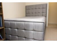 Cupid Grey Double Bed, Matching Curtains and Lamp Shade, Ideal to setup a double room