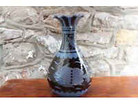 Stunning Vintage Studio Pottery Vase Large Dated 1961 Fish Blue Black Nautical Maritime