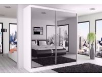 ❋★❋ MANY COLOR OPTIONS ❋★❋2 DOOR BERLIN SLIDING WARDROBE FULLY MIRROR WITH SHELVES AND HANGING RAILS