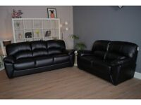 2+3 Seater Black Leather DFS Sofas - Free Delivery In Southampton