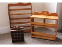 Three Wooden Display Cases/Spice Rack