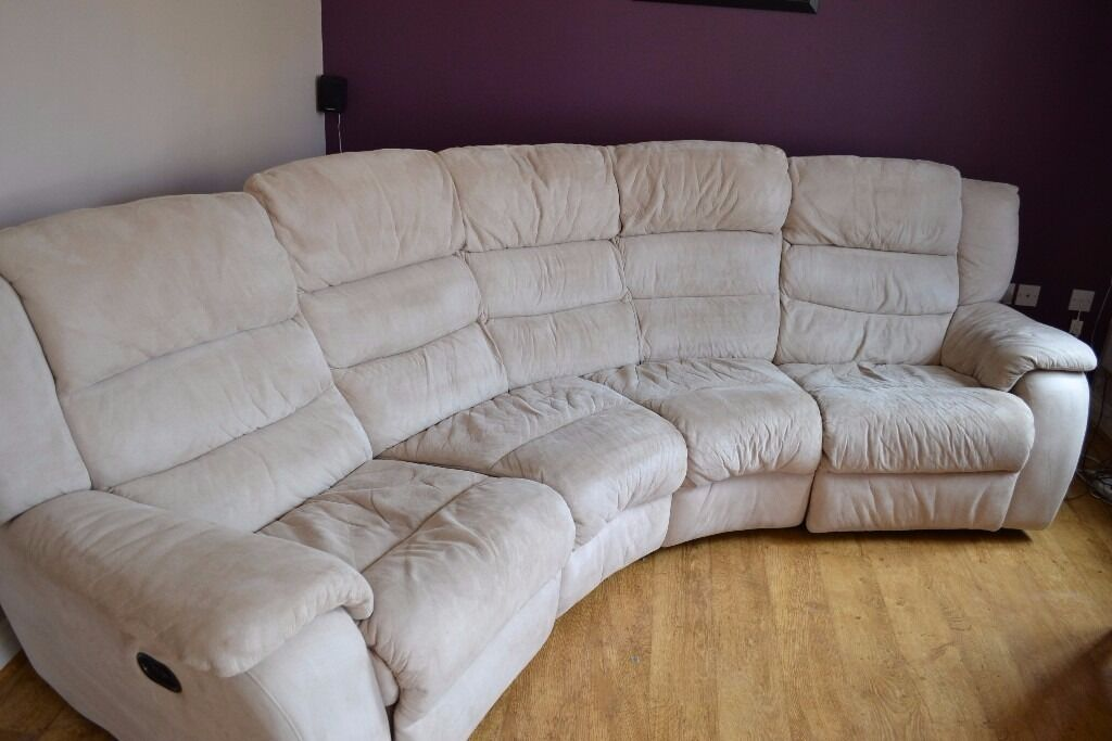 Dfs 4 Seat Curved Sofa Dual Electric Reclining Cream With Pouf In