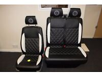 VW T5 driver and fixed double seat re-upholstered and in stock now! - GMG Customs