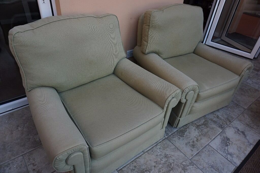 Armchairs in pale green fabricin Hove, East SussexGumtree - Armchairs in pale green fabric, in very good condition. House move forces sale. 94 cms wide x 85 cms deep x 78 cms high. Seat 44 cms high. Pair available at £50 but can sell singly at £25 each if required. Buyer collects