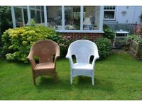 Pair wicker garden chairs