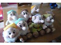 "Disney store seven dwarves - full set of 7 plush toys as new, 14"" vgc"