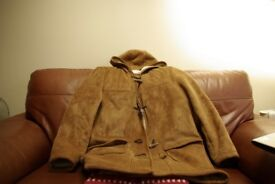 real sheepskin coat,hooded.42 inch chest.or large.in immaculate condition.hardly worn.