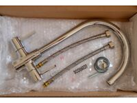 New, boxed chrome mixer taps and fittings