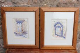 2 Original Watercolours Framed Irish Artist - Timoleague Friary in Co. Cork, Ireland Medieval Abbey