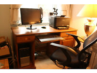 COMPUTER PACKAGE: COMP+MONITOR+PRINTER+PINE COMP TABLE+CHAIR ETC