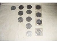 COLLECTION OF 13 COMMERATIVE COINS & MEDALS ROYAL MINT 1977,CHURCHILL,1981,1887