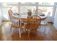 Natural Solid Wood Dinning Table Set - Extendable Butterfly Leaf Table with 8 Chairs - May Deliver