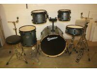 Premier Cabria Blue Sparkle 5 Piece Full Drum Kit (22 in Bass) + Hardware and Sabian Cymbals