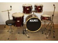 Mapex V Series Wine Red 5 Piece Full Drum Kit (22in Bass) + Stands + Stool + Cymbals