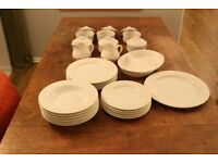 White Dinner set (5 place seting as two plates gone missing)