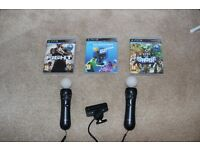 Playstation 3 MOVE Camera, x2 Move Controllers, 2x MOVE Games