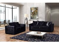 LUX FABRIC 3 AND 2 SEATER CRUSHED VELVET SOFA SUITES IN CORNER LEFT/RIGHT ARM