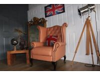 chesterfield wing armchair tan leather