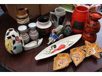 Job Lot of Italian and German Vintage Retro Pottery Vases etc