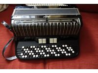 "Chromatic ""C"" system 5 row button accordion,120 bass Italian."