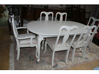 beautiful french style extending table and six chairs shabby chic painted
