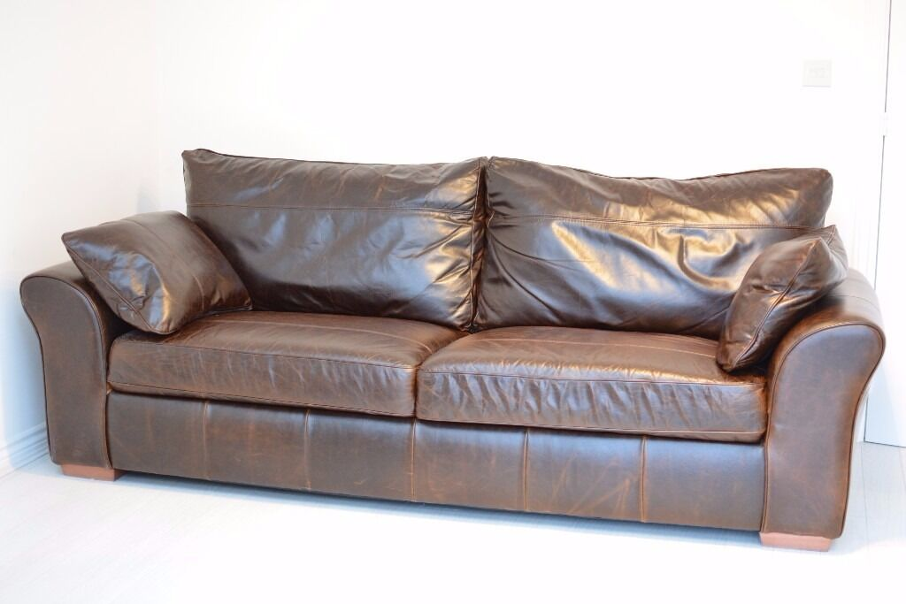 Large Dark Brown Leather Sofa From Next Garda Range Includes Storage Footstool