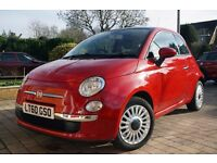 Fiat 500 1.2 Lounge, 2010 (60 reg), Red, 35500 miles, 1 owner, FSH, VGC, tax/MOT until September