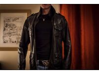 Superdry Leather Jacket - Medium