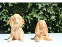 Pair of Vintage Sylvac Spaniel Dogs Number 18 and 114 Sitting Dog and Lying Down
