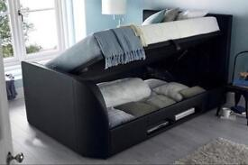CASINO DOUBLE GAS LIFT STORAGE TV LEATHER BED £319 RRP £899- *FULL ELECTRIC RISE