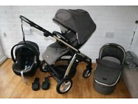 Mamas and Papas Sola MTX pram travel system 3 in 1 - Chestnut Tweed CAN POST