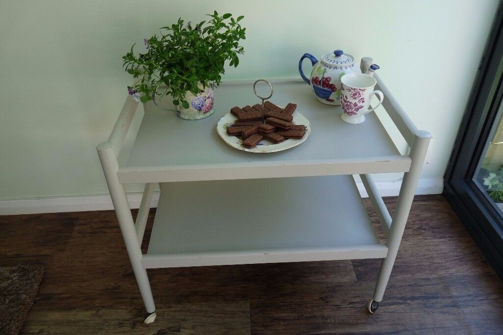 Vintage Upcycled Trolley, Hand-Painted in Farrow & Ball Purbeck Stone (pale grey)