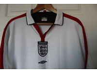 ENGLAND SHIRT 2003/2005 OFFICIAL TEAM PRODUCT WHITE WITH RED/BLUE TRIM SIZE XXL
