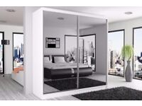 70% SALE: FULL MIRROR 2 DOOR SLIDING WARDROBE IN BLACK/WHITE/WENGE AND WALNUT