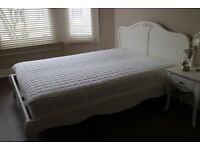 5ft bed frame in white vintage style inc. excellent quality mattress.