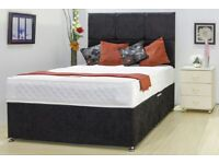 Chenille High Quality Divan Bed Base Black - Bargain Price for Limited Time Only