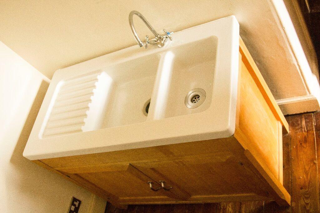 Habitat Olivia Kitchen Sink Tap Freestanding Beech Cabinet With Porcelain Double Belfast Sink