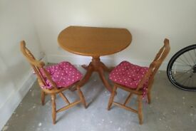 Oak Dinning Table & 2 Chairs