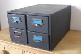 Vintage SHANNON, Solid Wood, 4-drawer, Card Index Filing Cabinet. Up-cycling / upcyclng.