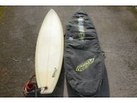 Circle One surf board 6 foot 4 with leash and Bulldog surfboard bag.