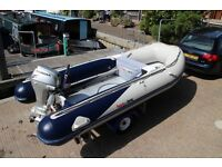 Honwave T40AE 4M semi rib rigid inflatable boat 20hp outboard & trailer watersport or fishing.