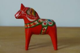 Collectible: Small, NILS OLSSON, hand-painted, folk-art, DALA HORSE. With original label attached.